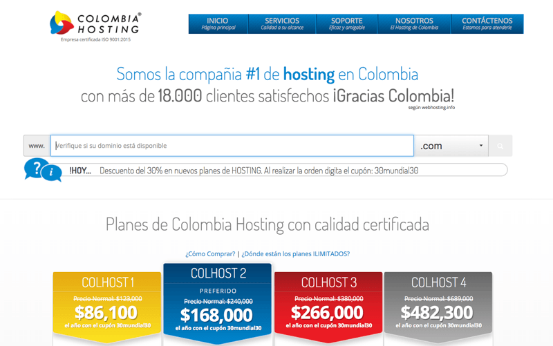 Planes de Hosting Colombiahosting.com.co