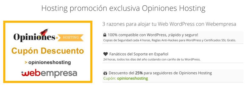 Cupón exclusivo Webempresa para Opiniones.hosting
