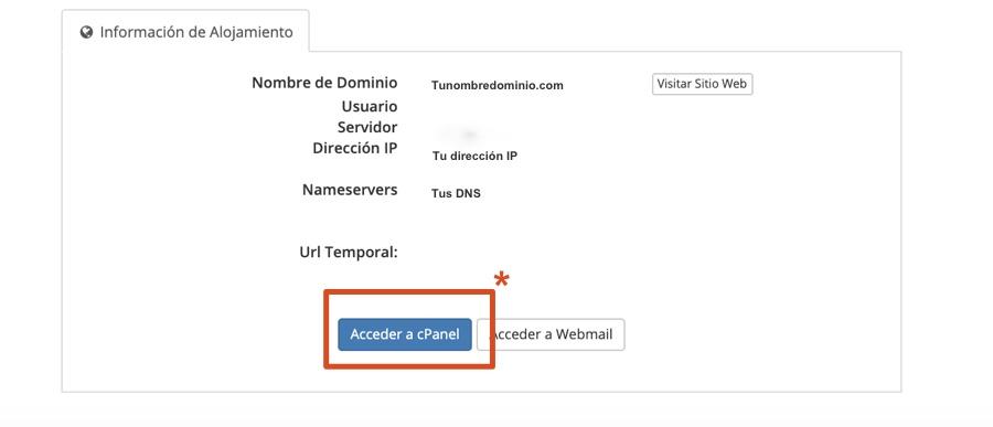 Como acceder al cPanel