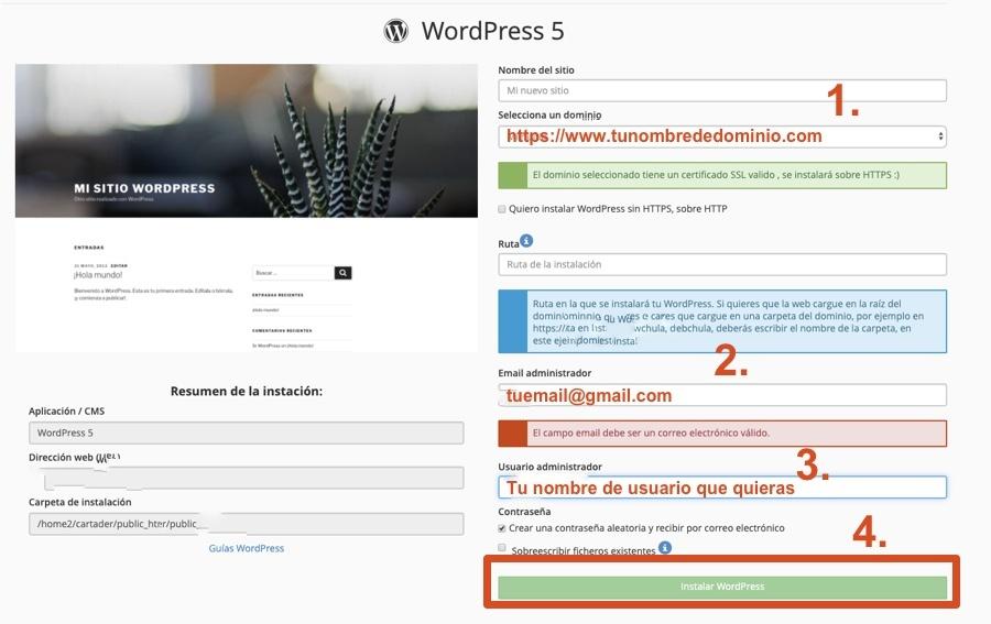 Guía instalación WordPress