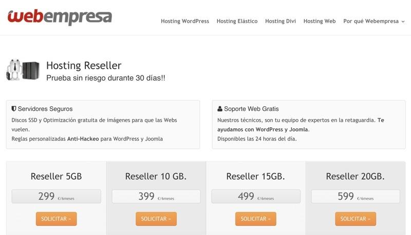 Hosting reseller Webempresa