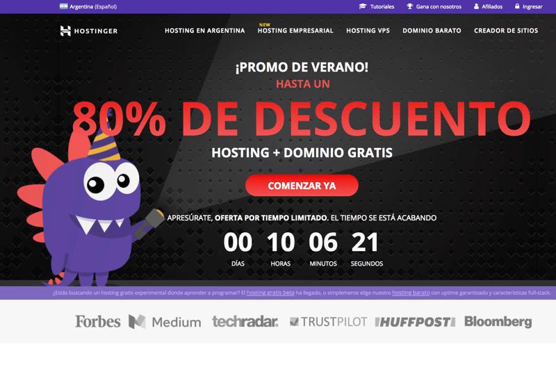 Mejor hosting argentina hostinger